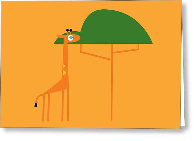 Giraffe On Savanna Greeting Card by Pbs Kids