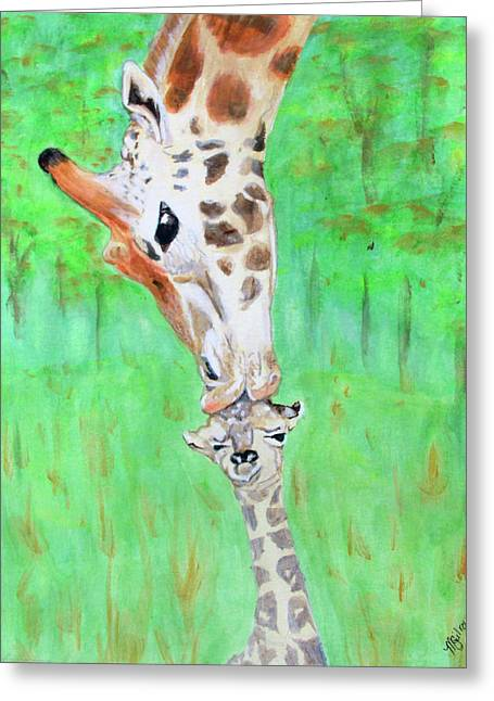 Giraffe Parents First Kiss Greeting Card by M Gilroy