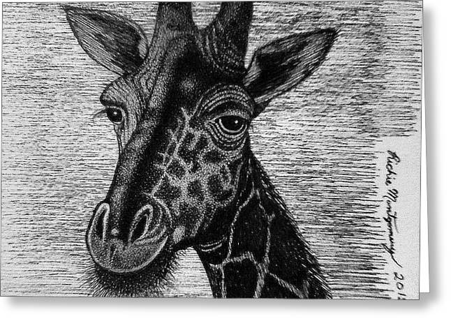 Giraffe  Greeting Card by Richie Montgomery