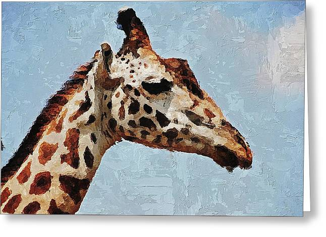 Greeting Card featuring the digital art Giraffe Safari  by PixBreak Art