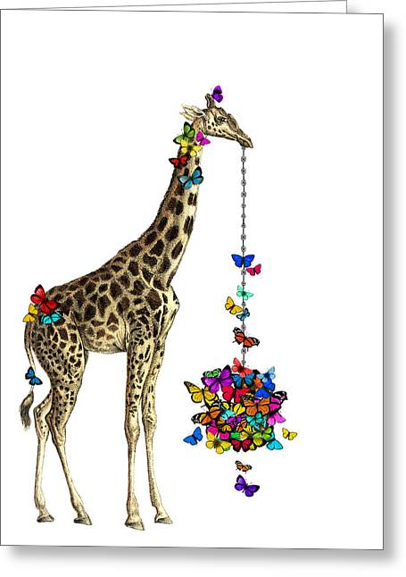 Giraffe With Colorful Rainbow Butterflies Greeting Card