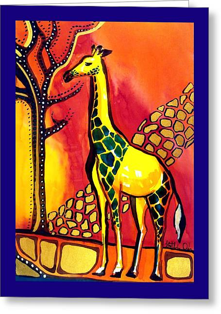 Giraffe With Fire  Greeting Card