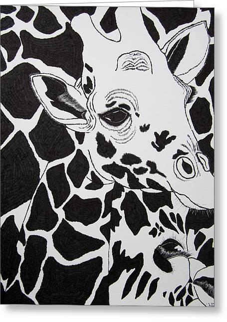 Giraffe World Greeting Card by Jungsu Lim