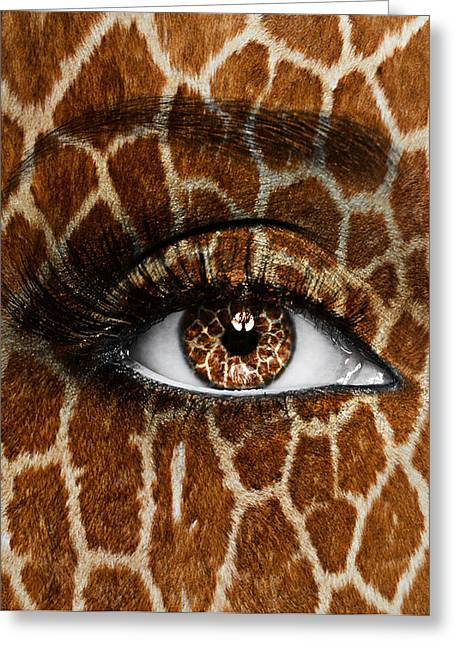 Eyelash Greeting Cards - Giraffe Greeting Card by Yosi Cupano