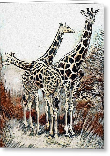 Greeting Card featuring the digital art Giraffes by Pennie McCracken