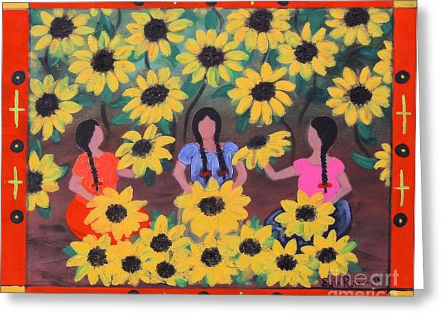 Girasoles Greeting Card by Sonia Flores Ruiz