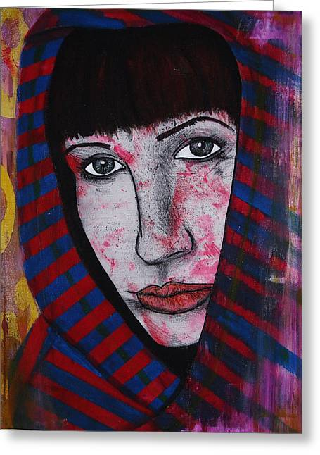 Greeting Card featuring the painting Girl 11 by Josean Rivera