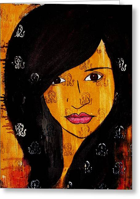 Greeting Card featuring the painting Girl 3 by Josean Rivera