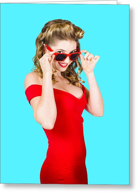 Girl Adjusting Glasses To Flashback A 1950s Look Greeting Card