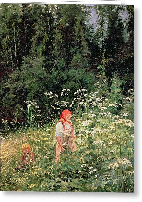 Girl Among The Wild Flowers Greeting Card
