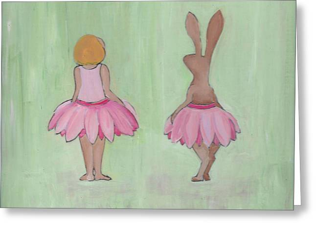 Girl And Bunny In Pink Tutus Greeting Card
