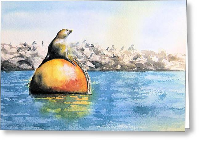 Girl And Buoy Greeting Card
