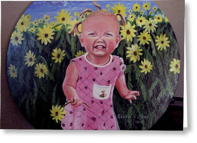 Girl And Daisies Greeting Card by Ruanna Sion Shadd a'Dann'l Yoder