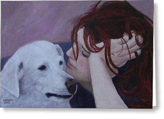 Girl And Dog Greeting Card