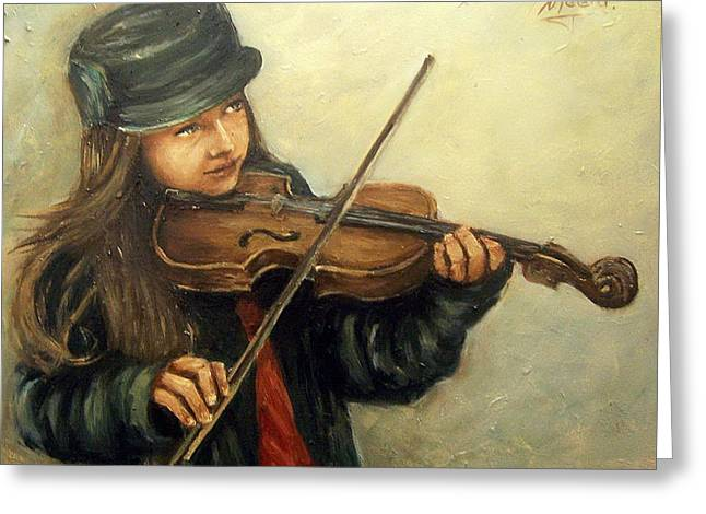 Girl And Her Violin Greeting Card by Natalia Tejera