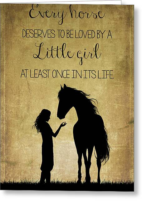 Girl And Horse Silhouette Greeting Card