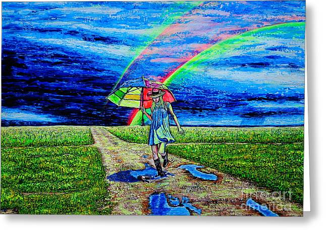Girl And Puddle Greeting Card by Viktor Lazarev