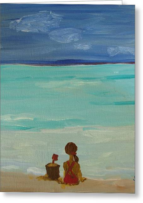 Girl And The Beach Greeting Card