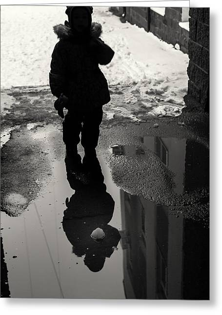 Girl And The Pool Of Reflection Street Abstract Greeting Card by John Williams