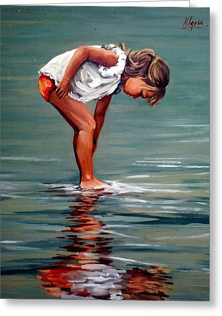 Girl At Shore  Greeting Card by Natalia Tejera
