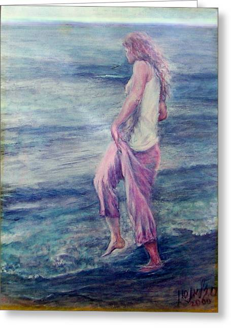 Girl At The Beach Greeting Card