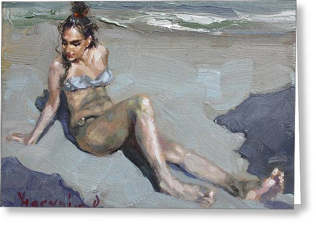 Girl At The Beach  Greeting Card by Ylli Haruni