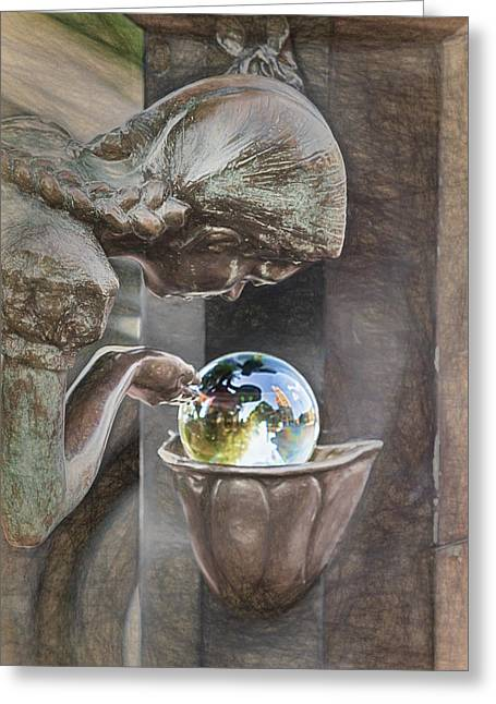 Girl At The Fountain Greeting Card