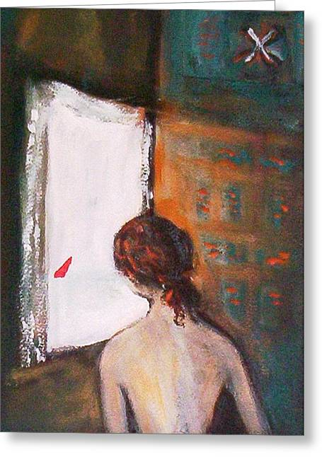 Greeting Card featuring the painting Girl At The Window by Winsome Gunning