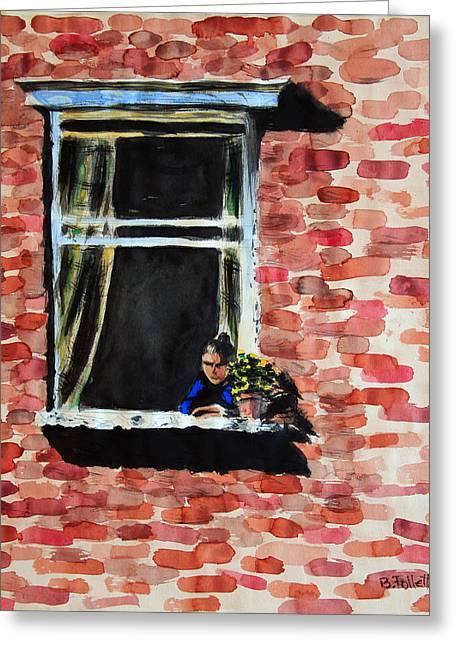 Girl At Window Greeting Card