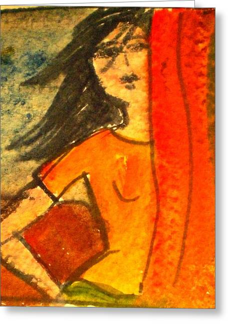 Girl Behind The Curtain Greeting Card by Maria Rosaria DAlessio