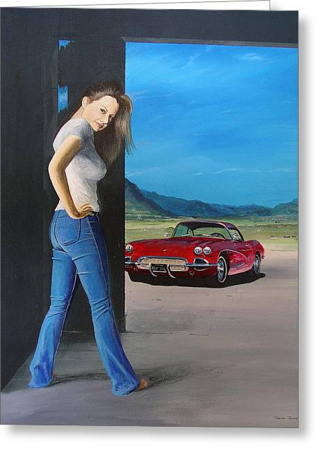 Girl By Corvette Greeting Card