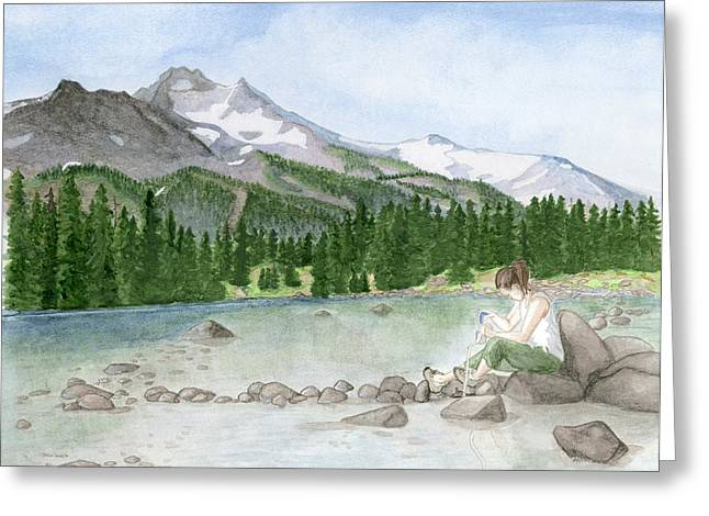 Girl By Lake Greeting Card by Caroline Moses