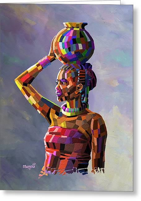 Girl Carrying Water Greeting Card by Anthony Mwangi