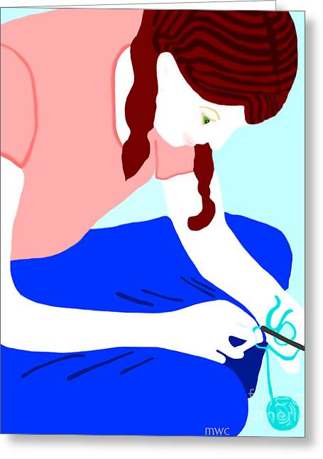 Girl Crocheting Greeting Card