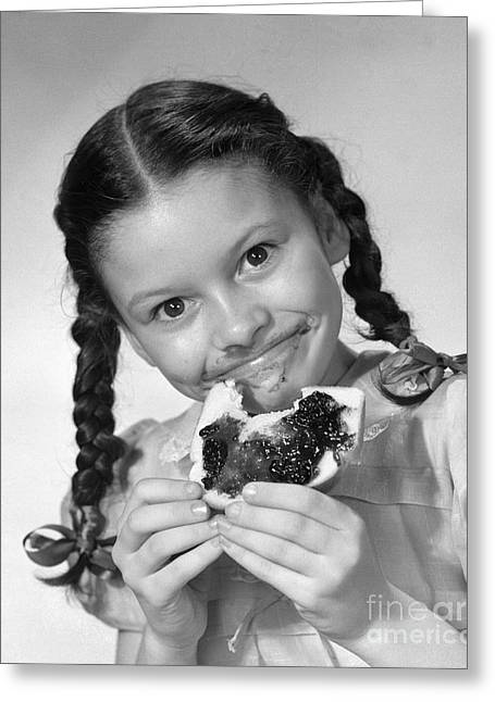 Girl Eating Bread And Jam, C.1950s Greeting Card by Debrocke/ClassicStock