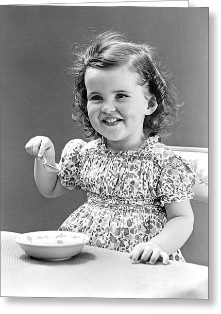 Girl Eating Ice Cream, C.1940-30s Greeting Card by H. Armstrong Roberts/ClassicStock
