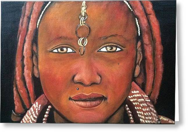 Girl From Africa Greeting Card by Jenny Pickens