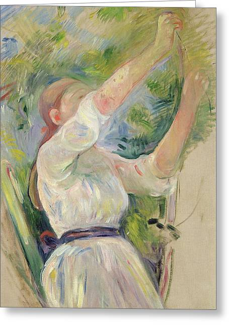 Girl Gathering Cherries Greeting Card by Berthe Morisot