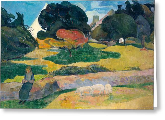 Girl Greeting Cards - Girl Herding Pigs Greeting Card by Paul Gauguin