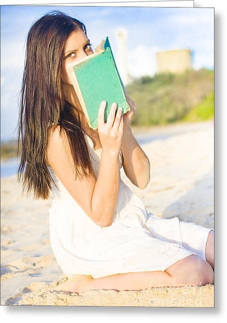 Girl Holding Book Greeting Card by Jorgo Photography - Wall Art Gallery