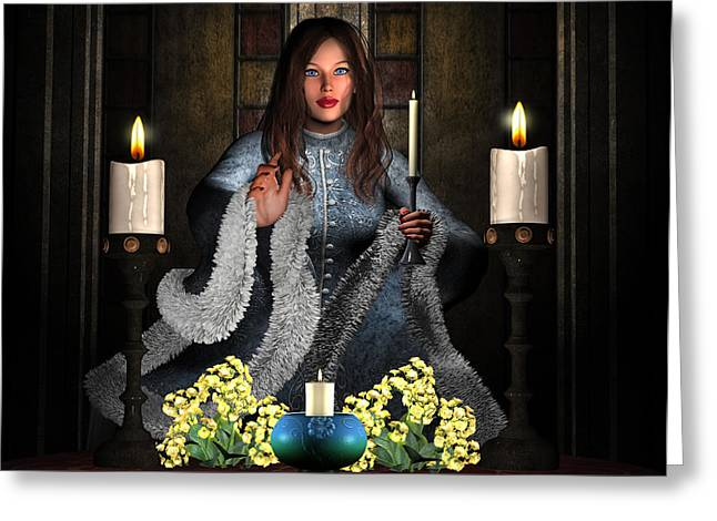 Girl Holding Candle Greeting Card