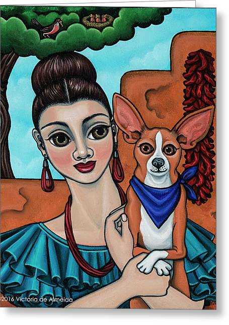 Girl Holding Chihuahua Art Dog Painting  Greeting Card