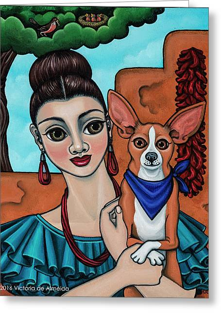 Girl Holding Chihuahua Art Dog Painting  Greeting Card by Victoria De Almeida