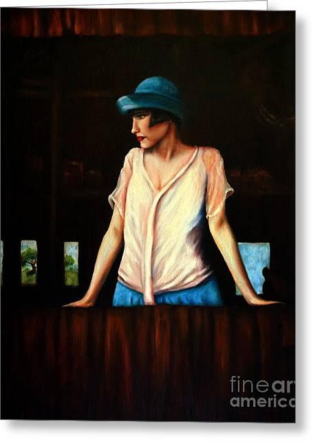 Girl In A Barn Greeting Card