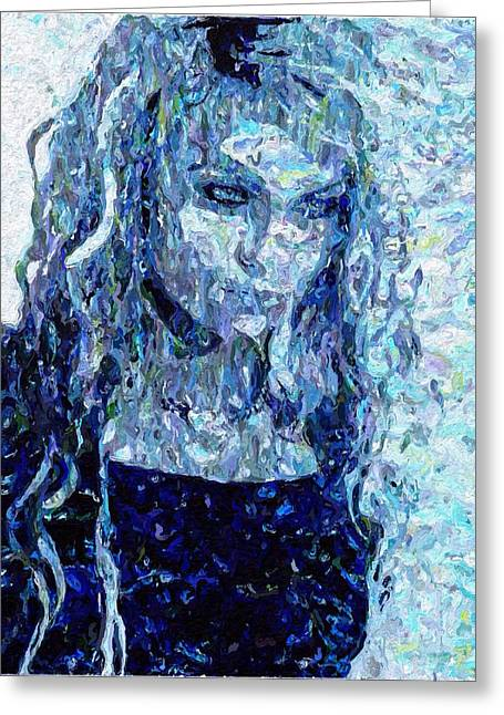 Girl In A Blue Dress Greeting Card