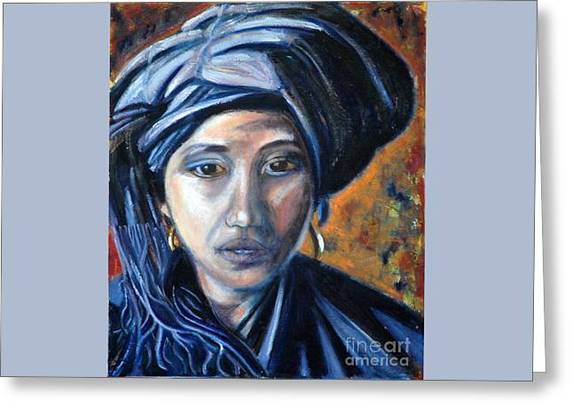 Girl In A Blue Headress Greeting Card