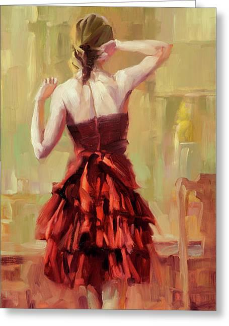 Girl In A Copper Dress IIi Greeting Card