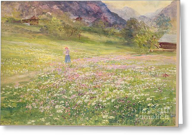 Girl In A Field Of Poppies Greeting Card by John MacWhirter