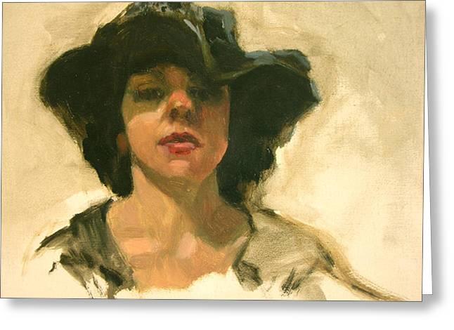 Girl In A Floppy Hat Greeting Card by Merle Keller