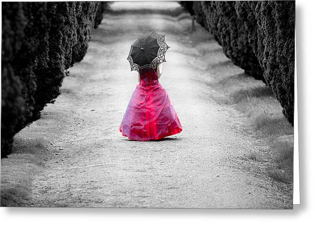 Girl In A Red Dress Greeting Card